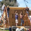 volunteers at a straw bale workshop