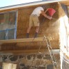preparing the straw bale wall for plaster