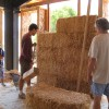 whacking the bales into plumb